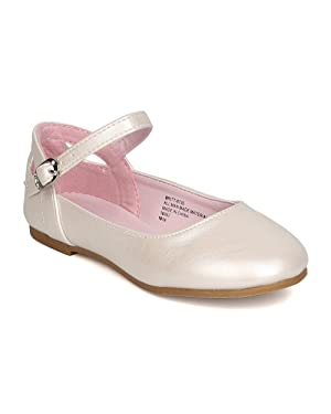 Little Angel GB42 Girls Leatherette Ankle Strap Cut Out Ballet Flat (Toddler Girl / Little Girl / Big Girl) - Ivory (Size: Little Kid 12)