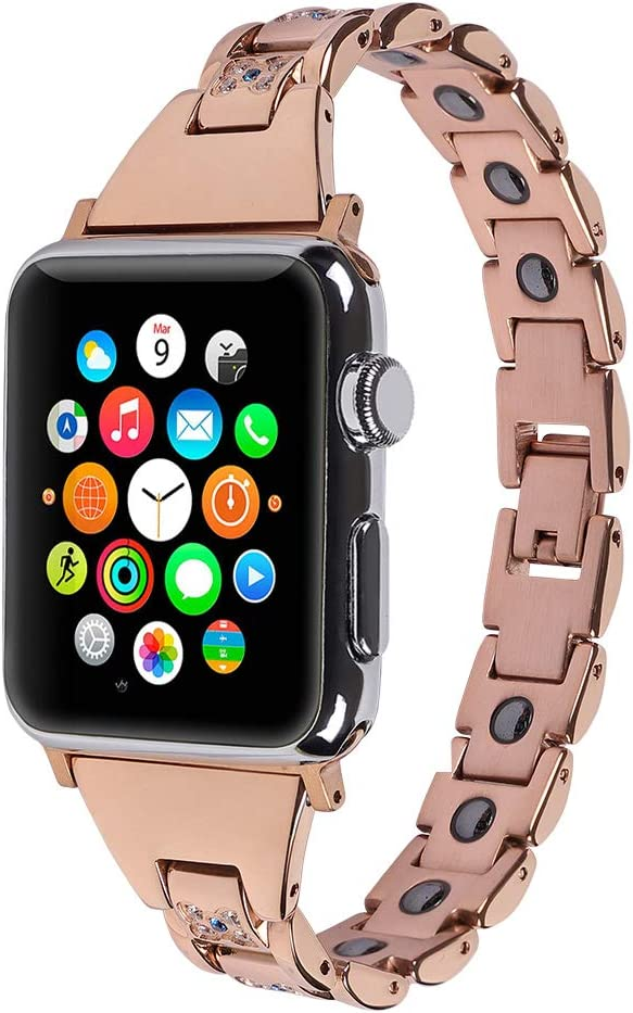 iZion Compatible for Apple Watch Band 42mm, Stainless Steel Jewelry Link Wristband Magnetic Bracelet Strap Replacement for iWatch Apple Watch Series 1/2/3, Rose Gold