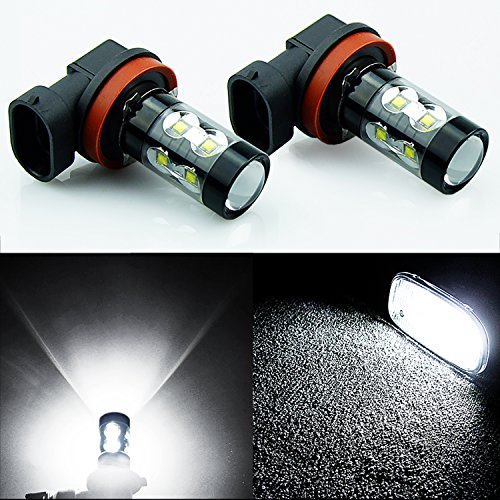 JDM ASTAR Extremely Bright All Size Max 50W High Power LED Bulbs for DRL or Fog Lights, Xenon White (H11) (2009 Malibu Fog Lights compare prices)