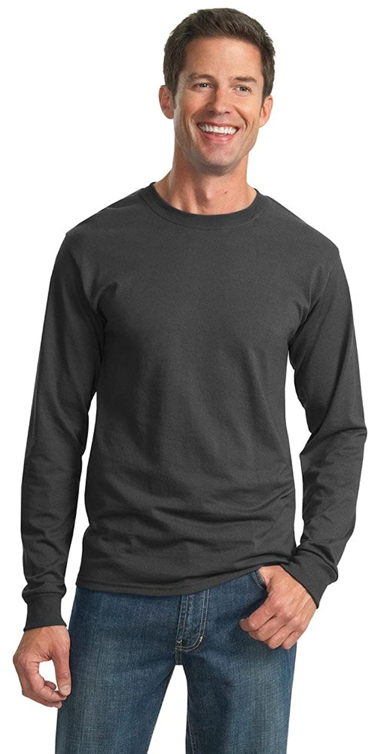 JERZEES Mens Heavy Blend Cotton/Poly Long Sleeve T-Shirt, Small, Charcoal Grey