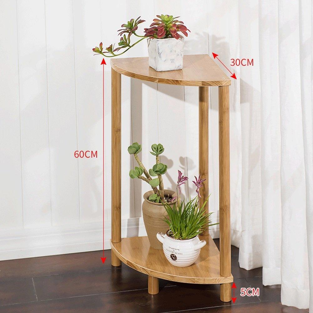 YH 家庭用バルコニーフラワースタンド扇形竹と木の2層の組み合わせフラワースタンドフロアフラワーポットディスプレイスタンドラック A+ (サイズ さいず : 60cm high) B07QSPVMNM  60cm high
