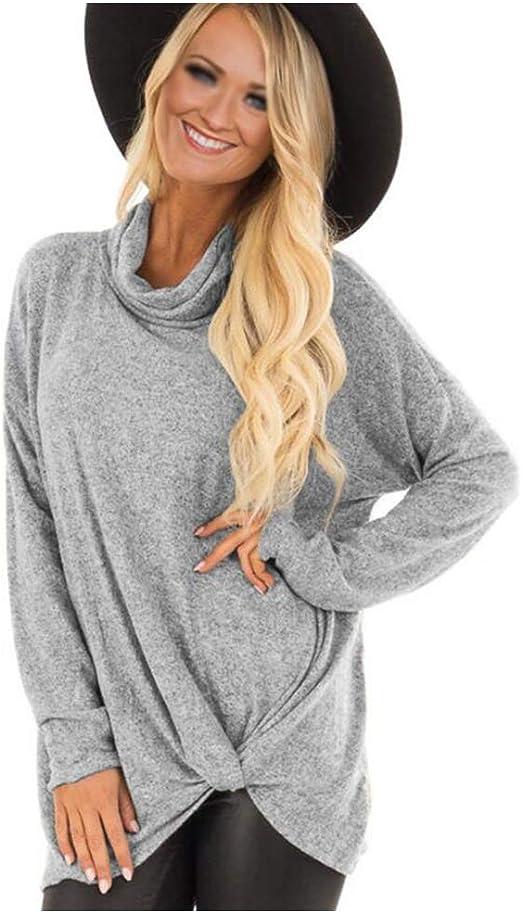 jersey Mujer Camiseta Sudadera Suelto Cuello Alto Tamaño Grande Kink Elegante Ocio Suave Transpirable Cosiendo Color Sólido Primavera Camisa Blusa Casual Otoño Shirt Top Arriba,Gray,S: Amazon.es: Hogar