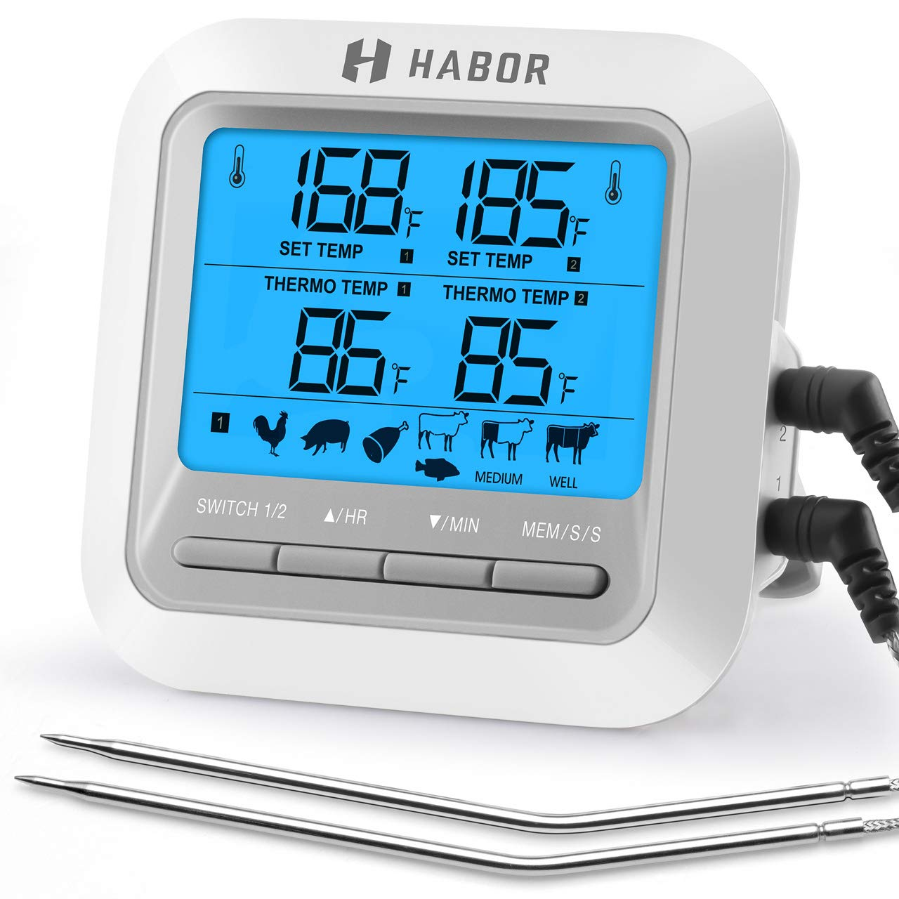 Habor 063 Dual Probe BBQ Thermometer, Digital Cooking Meat Thermometer Instant Read Food Thermometer with Large LCD Backlight & Timer Mode for Kitchen Smoker Oven Grill Turkey Beef Candy Milk Water