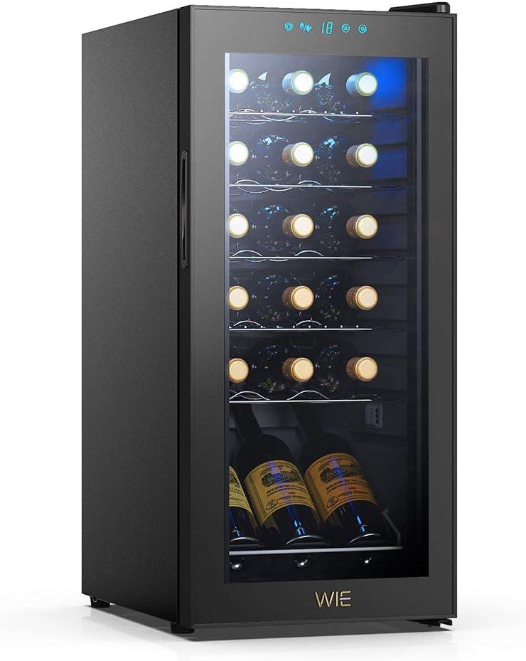Amazon Com Wie 18 Bottle Compression Wine Cooler Refrigerator White Red Wine Fridge Countertop Wine Refrigerators Freestanding Cellar W Digital Control Uv Protective Auto Defrost Airtight Glass Door Appliances