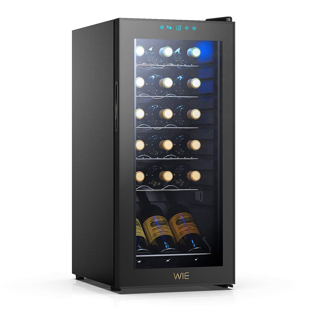 WIE 18 Bottles Wine Refrigerator Compressor System, Red and White Wine Fridge Freestanding Refrigerator Cellar with Digital Temperature Display Auto-Defrost