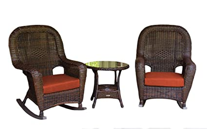 wholesale dealer 13214 27b8d Amazon.com : Tortuga Outdoor Two Porch Wicker Rocking Chairs ...
