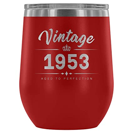 1953 65th Birthday Gifts For Women And Men 12 Oz Wine Tumbler Cup