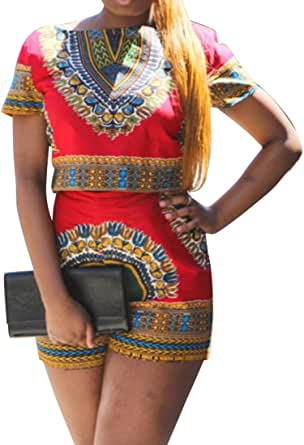 FSSE Womens African Print Dashiki Short Sleeve Top & Shorts Outfits Playsuits