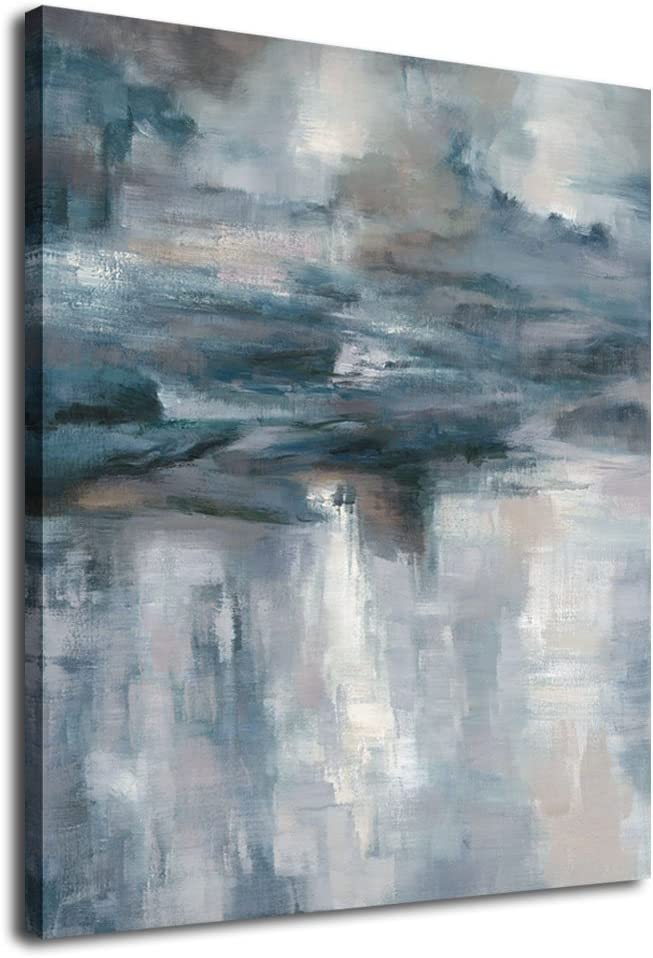 "Abstract Wall Art Canvas Painting Pictures Large Canvas Art Abstract Lake Water Modern Artwork Contemporary Wall Decor Indigo Grey Blue for Home Office Decorations Framed Ready to Hang 30"" x 40"""