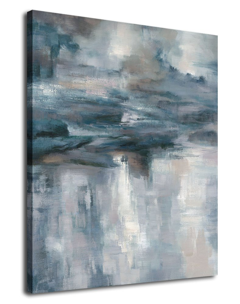 Abstract wall art canvas painting pictures large canvas art abstract lake water modern artwork contemporary wall decor indigo grey blue for home office