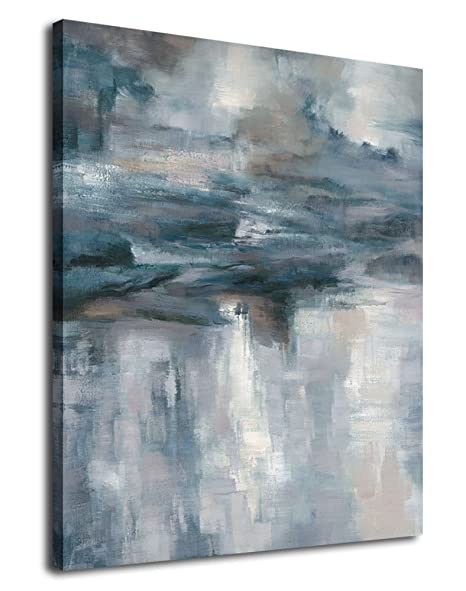 Abstract Wall Art Canvas Painting Pictures Large Canvas Art Abstract Lake Water Modern Artwork Contemporary Wall Decor Indigo Grey Blue For Home
