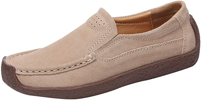 Ladies Ankle Flat Loafers Slip On Flock