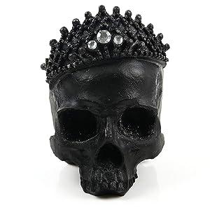 Black Skull Crystal Crown Handmade Human Head Skull Figurine Halloween Home Decor Gift