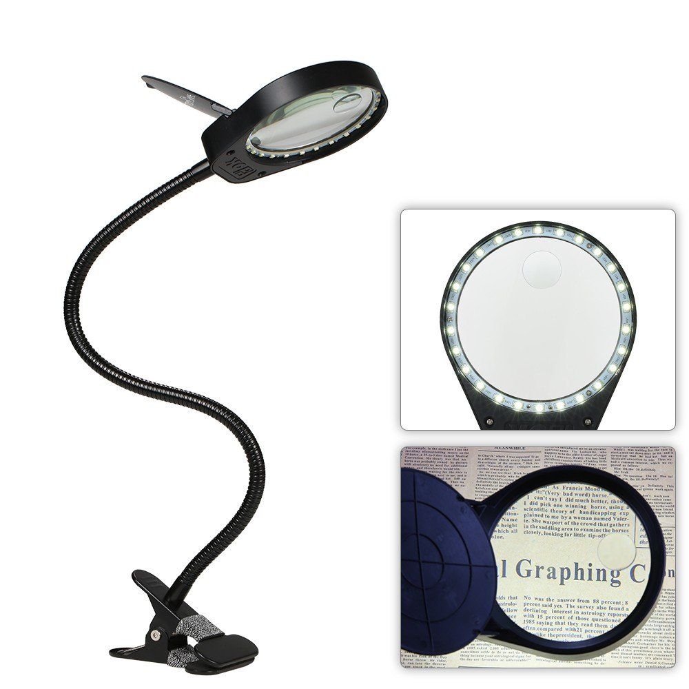 LED 3X/10X Magnifier Glass with Clamp Clip Table Light Desk Lamp Magnifying Lens Design Illuminated Dimmable Brightness Agjustable Flexible Portable for Printing Machinery Carving Generic