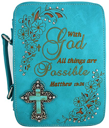 Western Style Bling Rhinestone Cross Country Women's Bible Cover Books Case Removable Strap Messenger Bag (Scriptures Turq) - Turq Cross