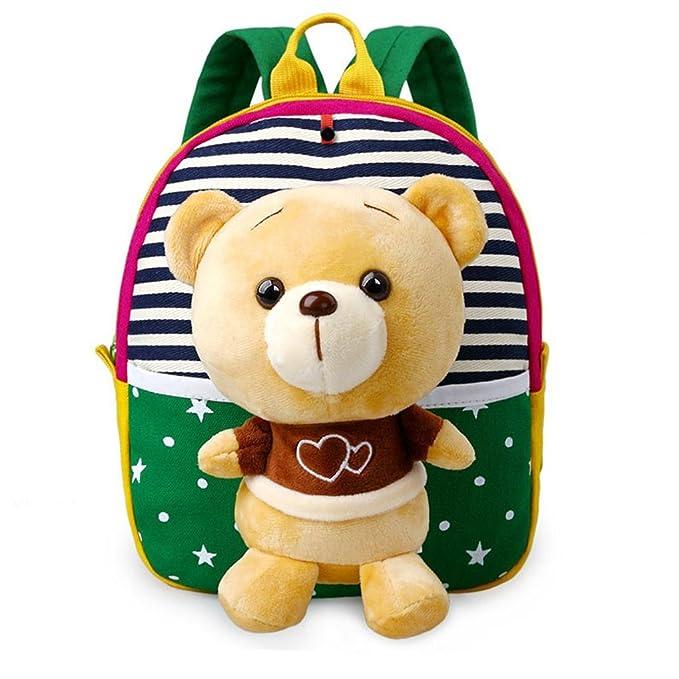 MATMO 3D Cute Cartoon Little Plush Baby Backpack Baby Toy Bag Grass Green Bear