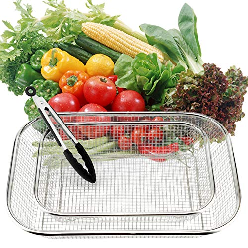 3PCS Stainless Steel Colander Rectangle Colander Strainer Mesh Sink Basket Vegetable Fruit Draining Rack to Strain Drain Rinse Steam for Cooking Kitchen, 1 Large 2 Small, with 1pcs Locking Tongs -