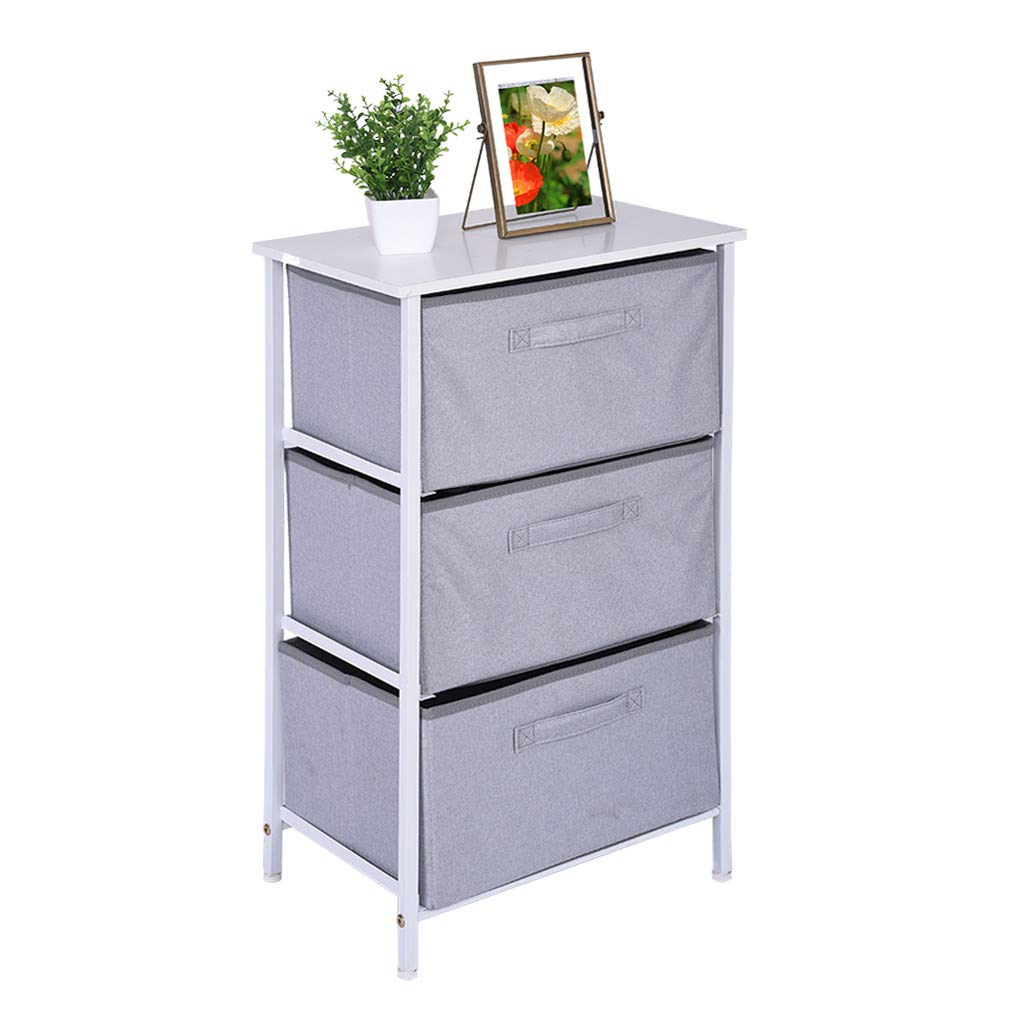 Shisay 3-Tier Vertical Drawer Dresser Storage Tower with 3 Easy Pull Fabric Drawers and Steel Frame, Wooden Tabletop for Closets, Nursery, Dorm Room, Hallway - 17.7x11.8x28.7in (Gray)