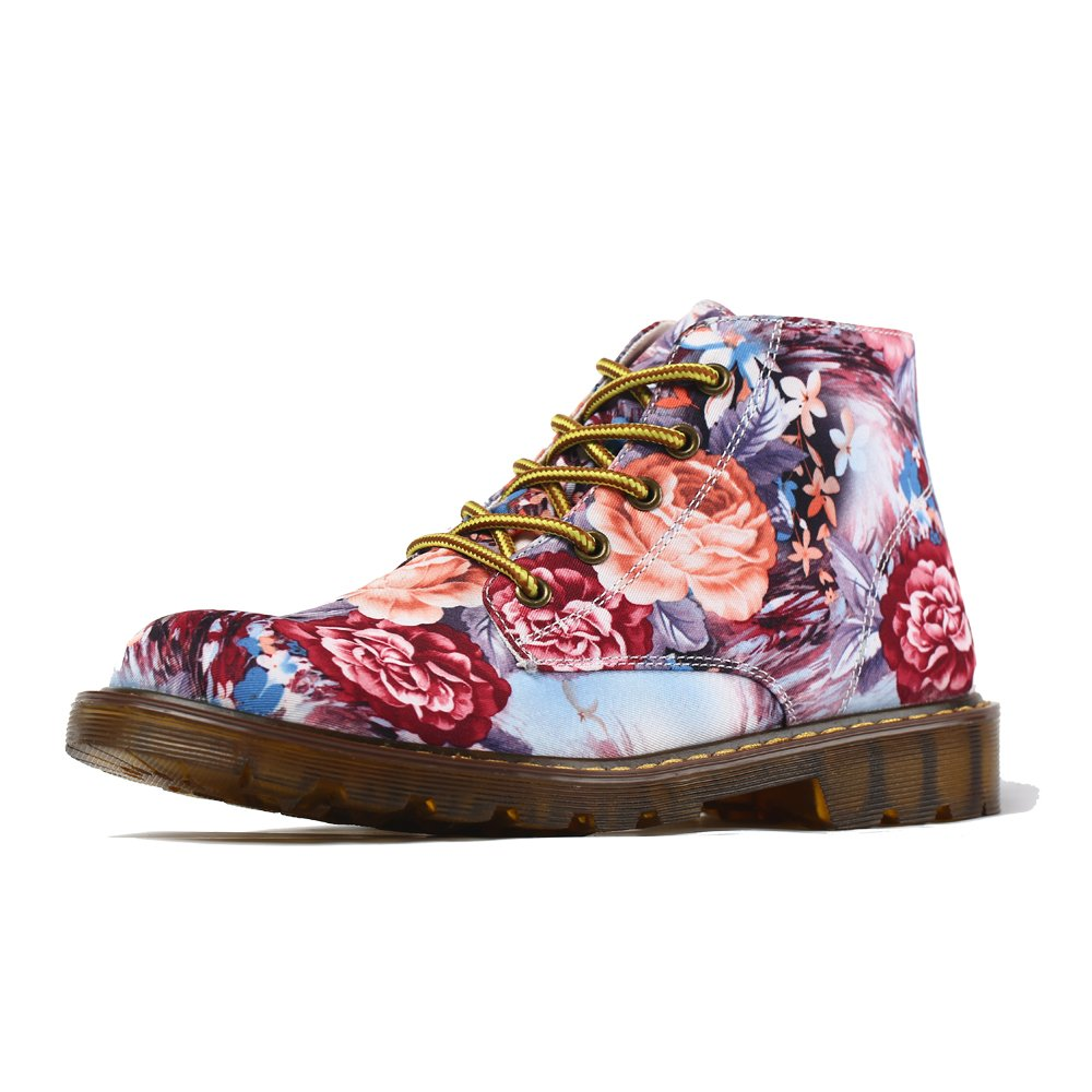 FIRST DANCE Fashion Sneakers for Women Flower Printed Cotton Fabric Shoes Lace-up High Top Spring Autumn Women Martin Boots