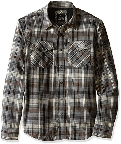 prAna Men's Asylum Flannel Shirt, Small, Gravel