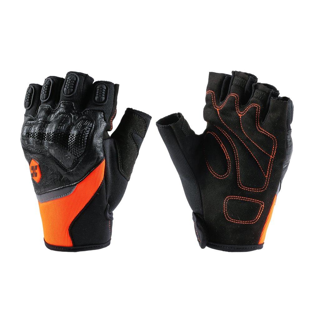 ILM Motorcycle Gloves Touchscreen Fits For Dirt Bike ATV Summer Men Women(Orange Half Finger, M)
