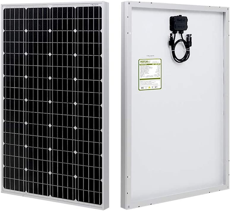 HQST 100 Watt 12 Volt Monocrystalline Solar Panel with MC4 Connectors High Efficiency Module PV Power for Battery Charging Boat, Caravan, RV and Any Other Off Grid Applications