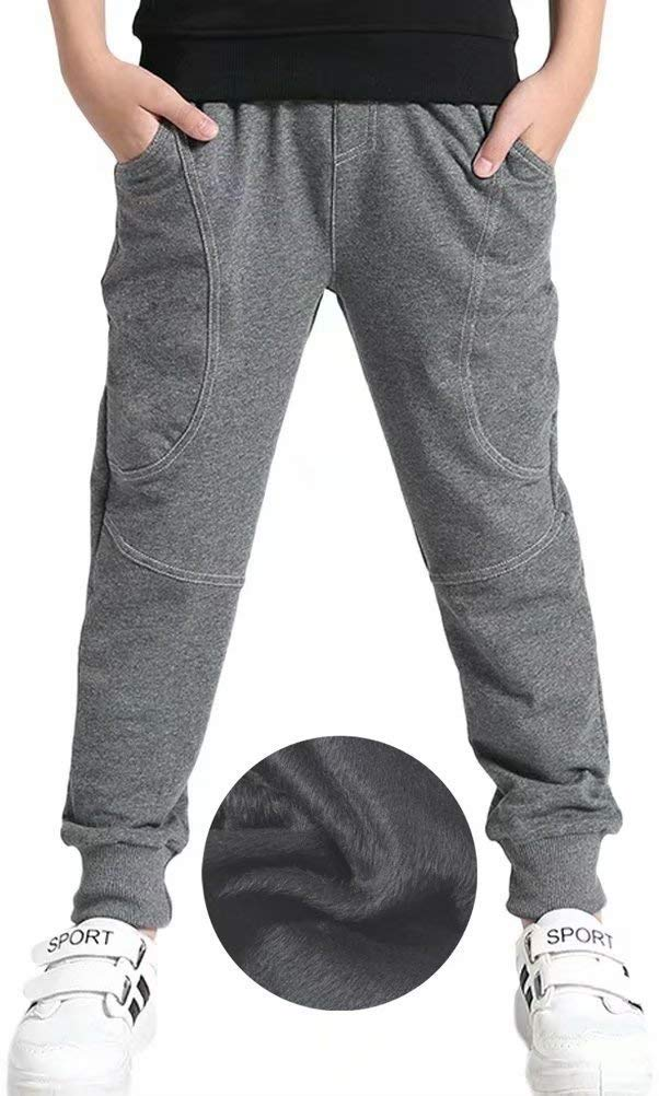 Boys' Fleeced Lined Thermal Thicken Sweatpants Jogger Pants Grey, Age 13-14 Years = Tag 170
