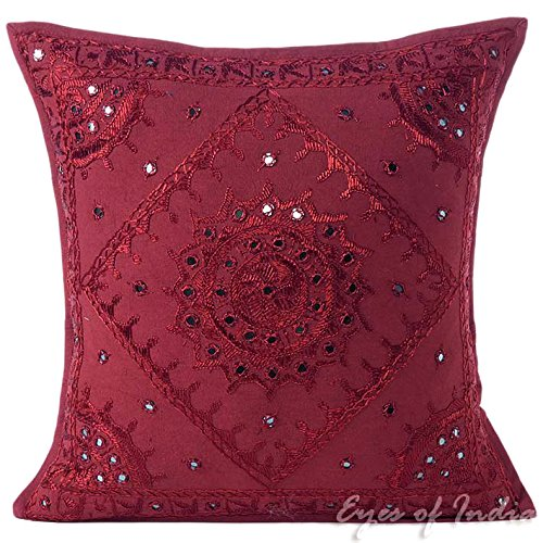 """Eyes of India - 16"""" Burgundy Red Mirror Embroidered Sofa Cou"""