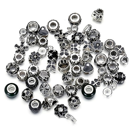 Pansona 10 Colors Assorted Silver Tone Charms Rhinestones Bead Charms Murano Glass Beads and Spacers Pack of 50 (Black) (Charme Und Charm Sonnenbrille)