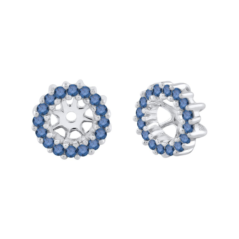 Sapphire Floral Earring Jackets in 14K White Gold (1/4 cttw) (Color GH, Clarity I1-I2)