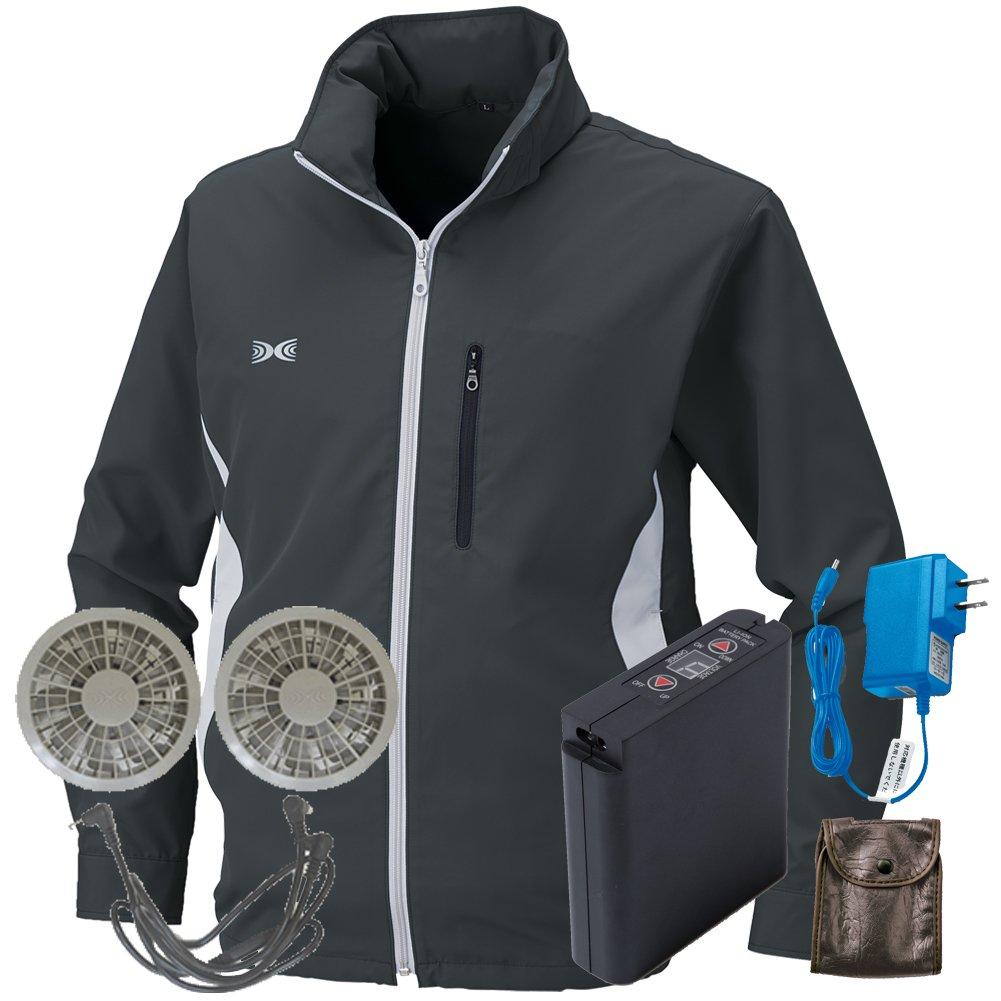 空調服 セット[KU90520ブルゾン+FAN2200グレーファン+LI-ULTRAIリチウムバッテリー] B077XX5WQ2 XL|チャコールグレー チャコールグレー XL