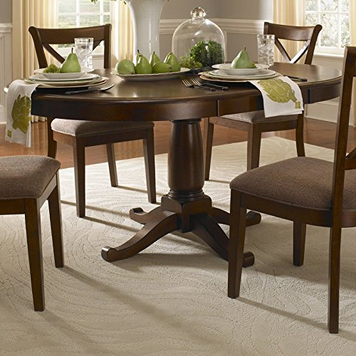 Extendable Dining Table Distressed with Worm-holing Made of Solid Wood Table has a Burnished Sienna Stain Oval Shape when Extend (Oval Extendable Table)