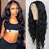 QD-Tizer Black Long Loose Curly Wave Lace Front Wigs with Baby Hair Heat Resistant Glueless Synthetic Lace Front Wigs for Fas