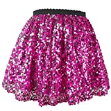 Flofallzique Pink Sequins Girls Skirts Sparkly Mini Toddler Skirt for 1-12 Years Old (5, Pink)