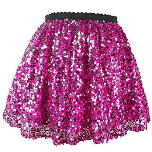 Flofallzique Toddler Sequin Skirts with Elastic Waistband Girls Mini Skirt for 1-12 Years Old (4, - Skirt Mini Sparkle