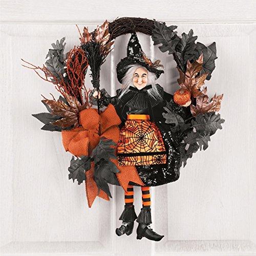 winston inc Orange Black Glittery Witch Halloween Pumpkin Spider Web Dress Fall Door Wall Wreath -