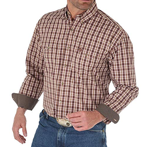 - Wrangler Apparel Mens George Strait Plaid Snap Shirt S Brown/Tan