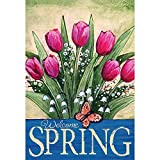 Welcome Spring Pink Tulips Leafy Greens 30 x 44 Rectangular Large House Flag