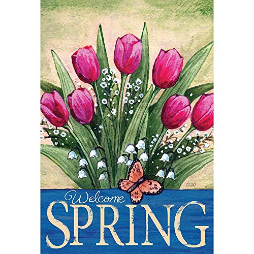 Welcome Spring Pink Tulips Leafy Greens 13 x 18 Rectangular Small Garden Flag