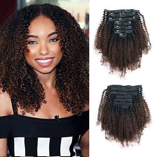 Lovrio Ombre Clip Ins Afro Kinkys Curly Hair Extensions Brazilian Virgin Human Hair Tone Natural Black Fading into Light Chocolate Brown TN/4 7 Pcs 120g 12