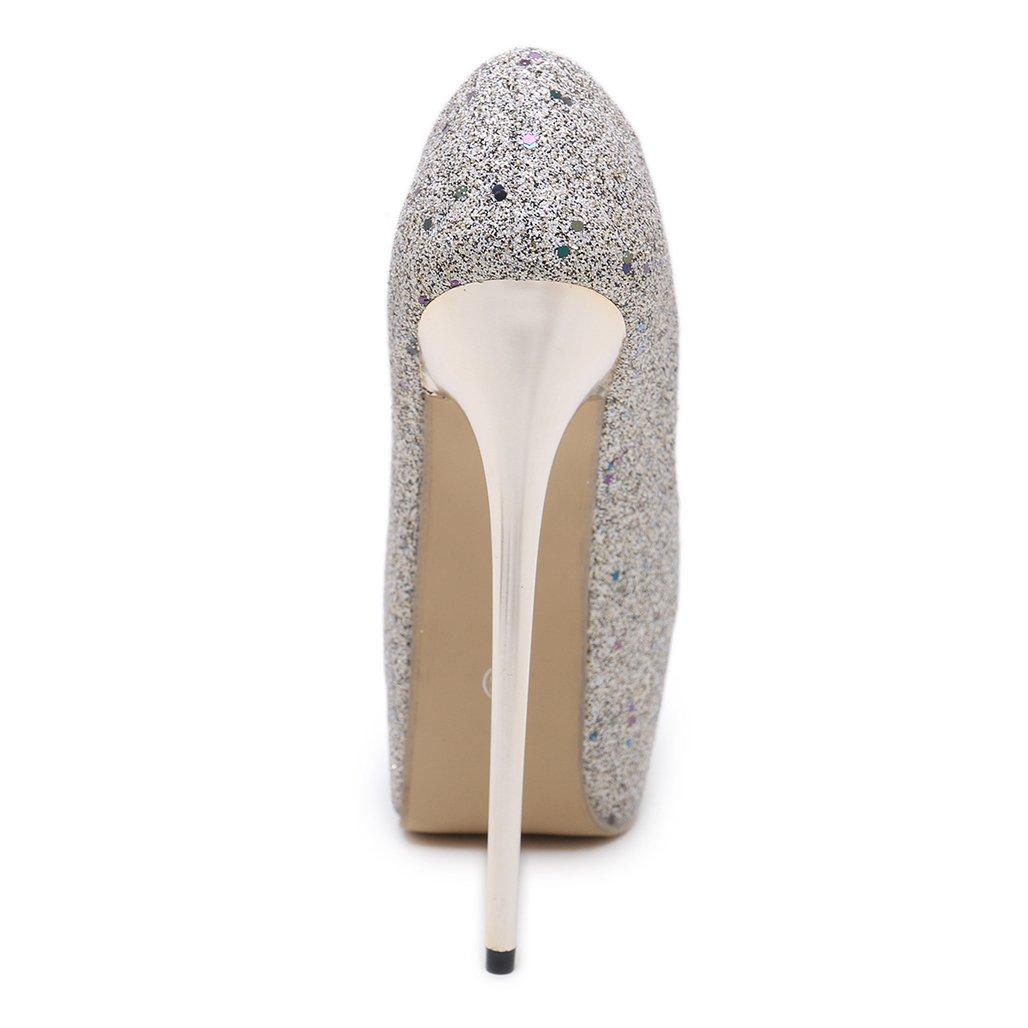 GoldGOD Mode Damen High Heels Mode GoldGOD Offene Spitze Seicht Stiletto Super High Heel Wasserdichte Plattform Fisch Mund Einzelne Schuhe,Gold,36 c692a4