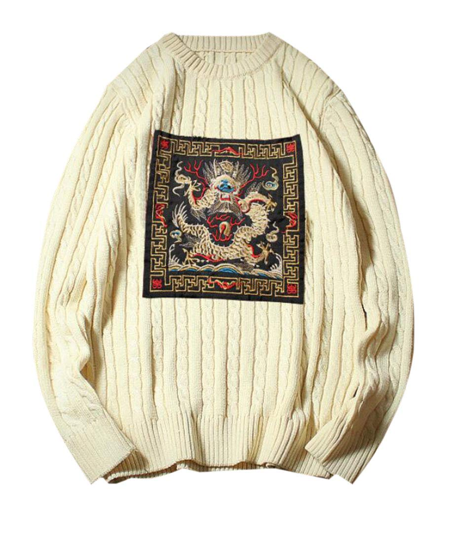 Domple Men's Crewneck Stylish Long Sleeve Embroidery Knitted Pullover Sweater 2 L