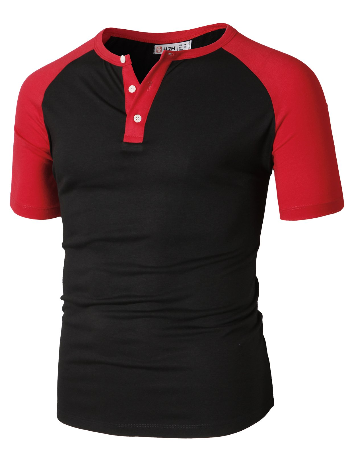 H2H Men Slim Fit Henley Raglan Short Sleeve Contrast Color Block Casual Baseball T-Shirt BlackRed US L/Asia XL (CMTTS0222)