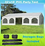 32'x16' PVC Party Tent - Heavy Duty Wedding Canopy Gazebo Carport - with Storage Bags - By DELTA Canopies