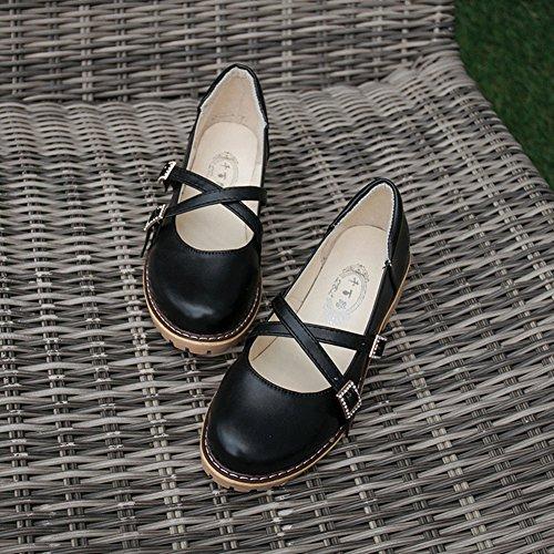 Thick Cross Black Toe Shoes Shoes Decor Rhinestones Buckle Sweet Oxford Heel Btrada Round Princess Women Hx4wIwYqR
