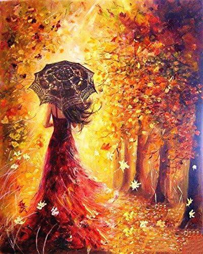 Gosear Pintura al /óleo del Flamenco de DIY de Digitaces Que colorea por n/úmeros en la decoraci/ón del Arte de la Pared de la Lona de Lino 40 x 50cm