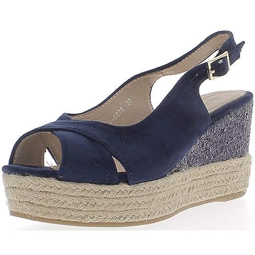 Zapatillas de cuña Azul Bandeja DE 8,5 cm y 3 cm de los Talones: Amazon.es: Zapatos y complementos