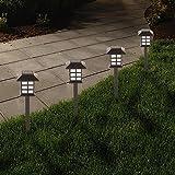 Solalite Set of 4 White LED Solar Carriage Oriental Style Lantern Garden Pathway or Border Stake