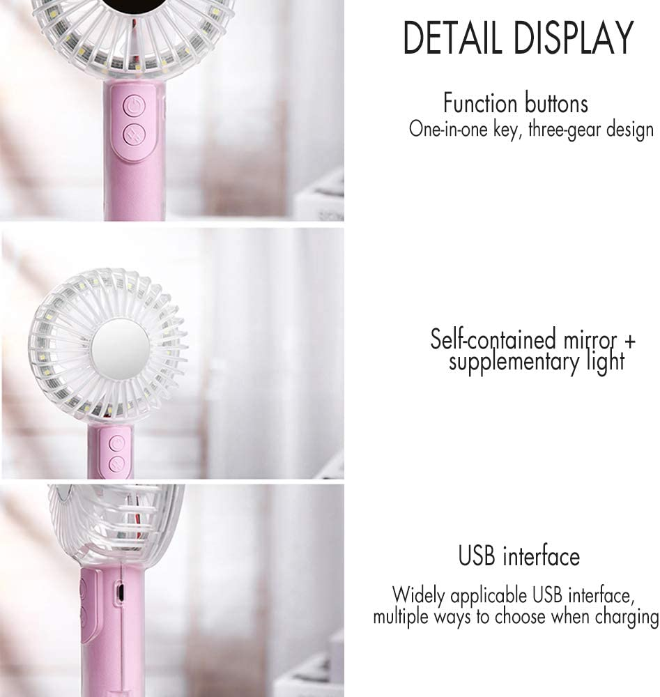 Upgrade USB Handheld Fan with Makeup Mirror Powerful Rechargeable Desk Fan with Phone Holder Base Portable for Room Office Household Mini Fan Traveling Camping Blue