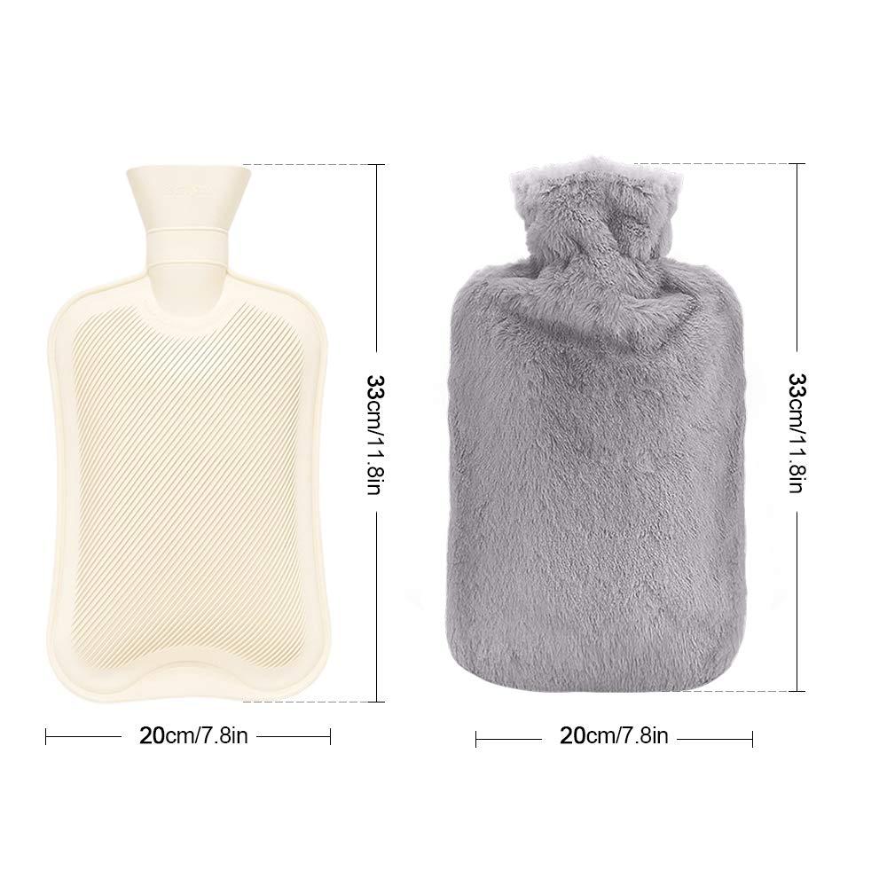 otumixx Botellas de Agua Caliente con Suave Felpa Funda 2L Natural Goma Agua Caliente Bolsa Hot Water Bottle para Mantener el Agua Caliente-Gris Gris Bolsa de Agua Caliente